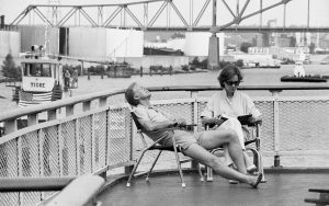 Jimmy Carter relaxing with his wife.